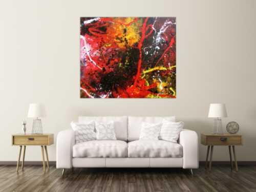 Abstraktes Gemälde aus Acryl modern und zeitgenössisch mit schwarz und rot