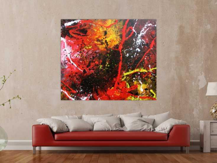 abstraktes gem lde aus acryl modern und zeitgen ssisch mit schwarz und rot auf leinwand 130x150cm. Black Bedroom Furniture Sets. Home Design Ideas