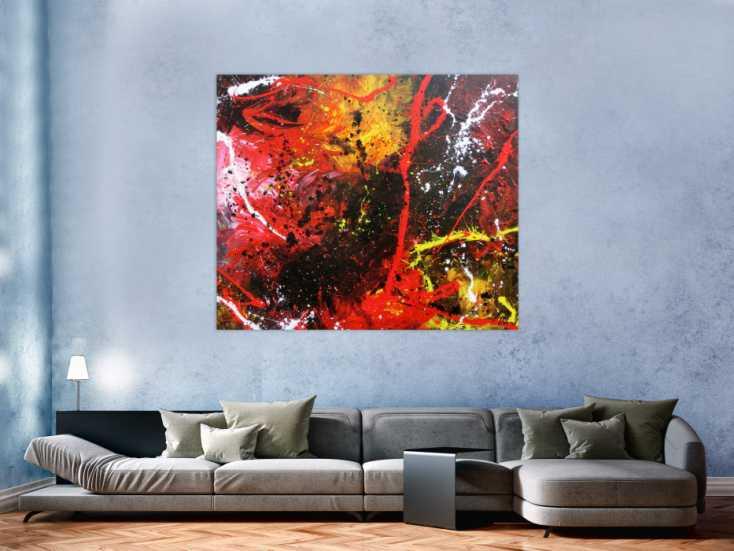 #715 Abstraktes Gemälde aus Acryl modern und zeitgenössisch mit schwarz ... 130x150cm von Alex Zerr