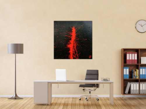 Minimalistisches abstraktes Gemälde aus Acryl in schwarz und rot