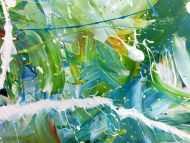 Detailaufnahme Modernes helles abstraktes Acrylgemälde bunt mit viel weiß und türkis