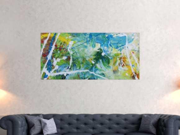 Modernes helles abstraktes Acrylgemälde bunt mit viel weiß und ... 60x130cm