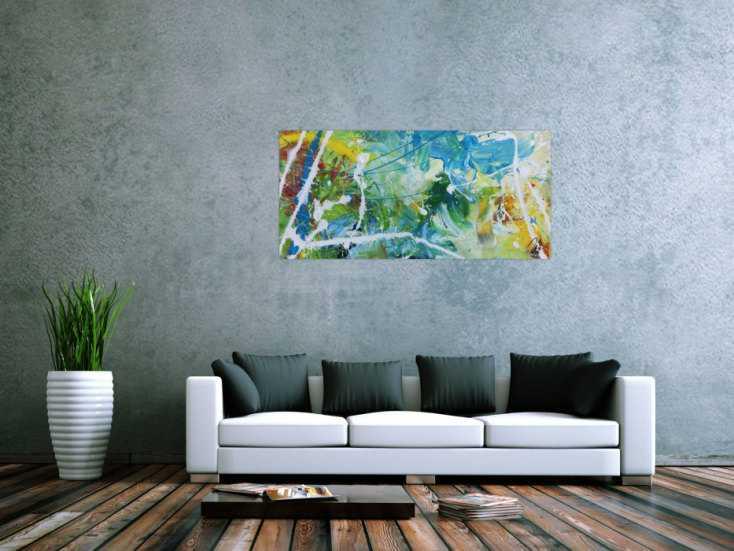#717 Modernes helles abstraktes Acrylgemälde bunt mit viel weiß und ... 60x130cm von Alex Zerr