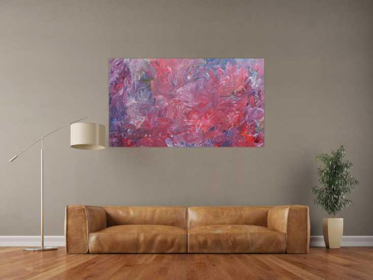 #718 Abstraktes Acrylgemälde modern zeitgenössisch in rotem Farbton 80x140cm von Alex Zerr