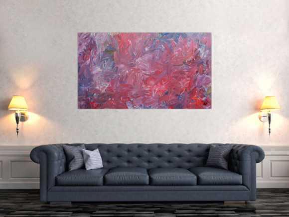 Abstraktes Acrylgemälde modern zeitgenössisch in rotem Farbton