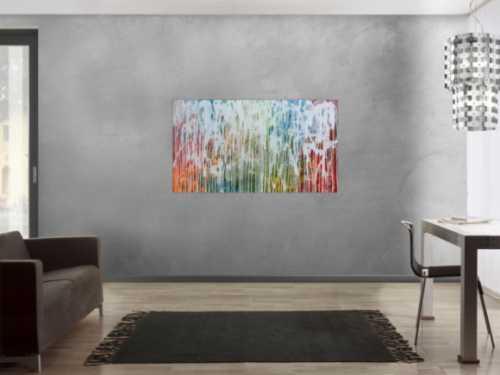 Sehr modernes Acrylgemälde abstrakt viele bunte Farben mit weiß