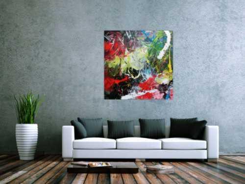 Abstraktes Acrylbild modern quadratisch zeitgenössisch bunt