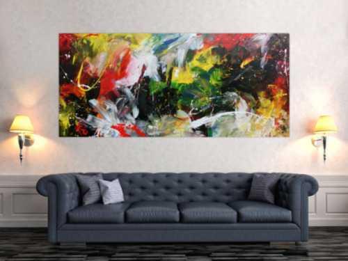 Modernes Acrylgemälde sehr abstrakt in bunt mit vielen Farben