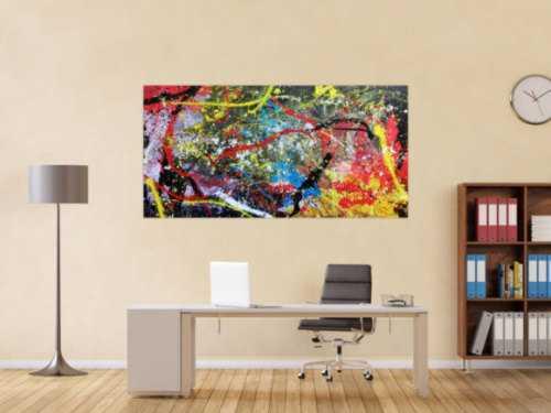 Abstraktes Acrylbild sehr bunt modern zeitgenössisch
