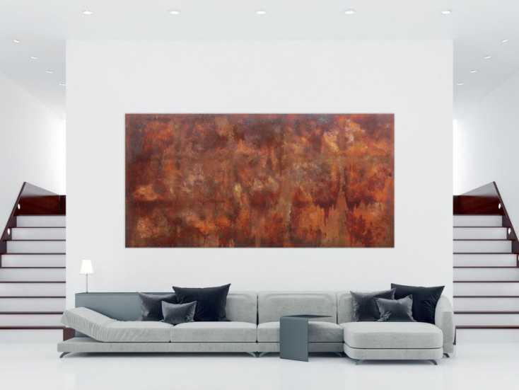 abstraktes gem lde aus echten rost sehr gro modern und zeitgen ssisch auf leinwand 150x300cm. Black Bedroom Furniture Sets. Home Design Ideas