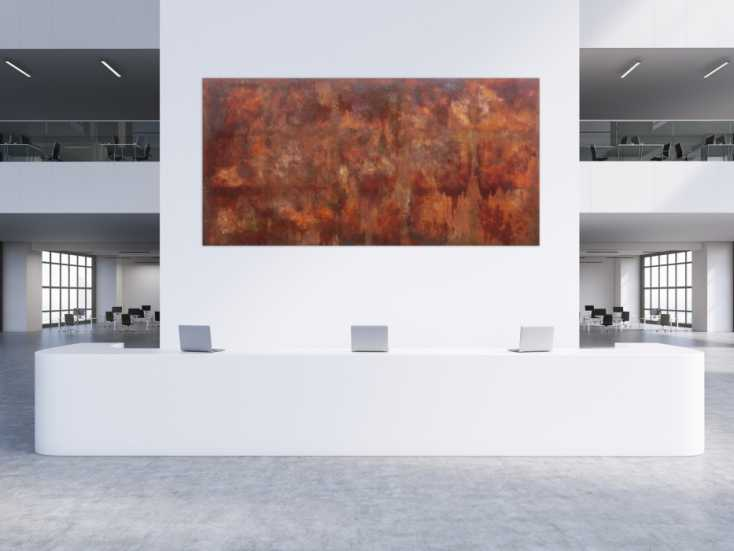 #724 Abstraktes Gemälde aus echten Rost sehr groß modern und ... 150x300cm von Alex Zerr