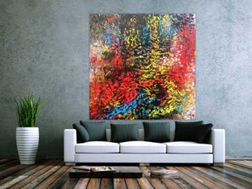 Abstraktes Acrylgemälde modern bunt zeitgenössisch mit vielen Farben