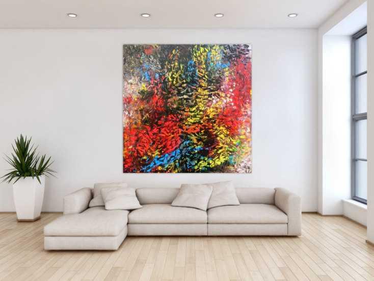 abstraktes acrylgem lde modern bunt zeitgen ssisch mit vielen farben auf leinwand 150x150cm. Black Bedroom Furniture Sets. Home Design Ideas