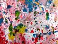 Detailaufnahme Sehr buntes Acrylbild modern abstrakt verspielt hele bunte Farben