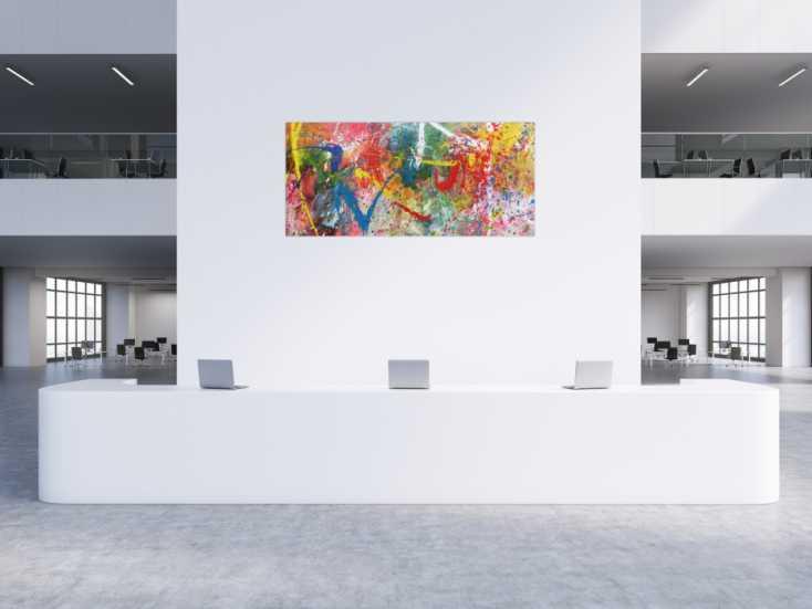 #727 Sehr buntes Acrylbild modern abstrakt verspielt hele bunte Farben 90x200cm von Alex Zerr