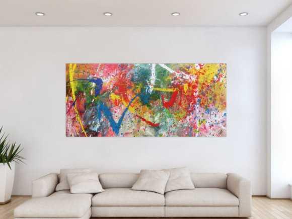 Sehr buntes Acrylbild modern abstrakt verspielt hele bunte Farben 90x200cm