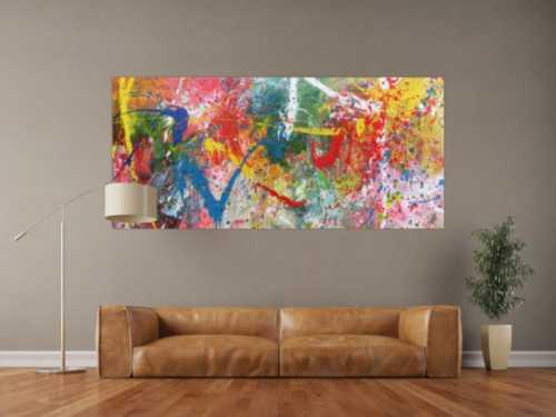 Sehr buntes Acrylbild modern abstrakt verspielt hele bunte Farben