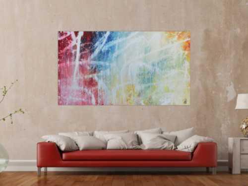 Buntes abstraktes Acrylbild mit hellen Farben modern schlicht