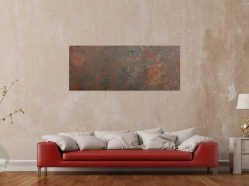 Modernes Gemälde aus echtem Rost schlicht abstrakt in Erdfarben