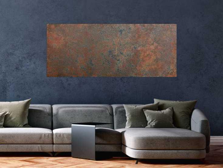 #729 Modernes Gemälde aus echtem Rost schlicht abstrakt in Erdfarben 60x150cm von Alex Zerr