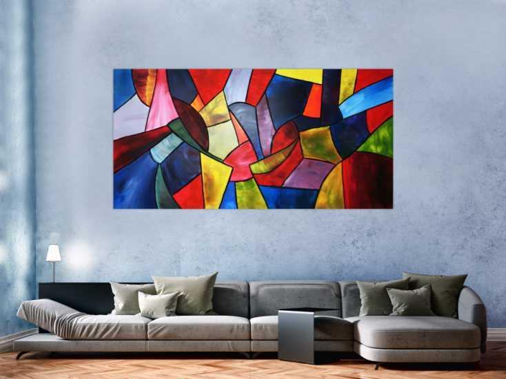 #73 Buntes Acrylbild im modernen Stil 100x200cm von Alex Zerr