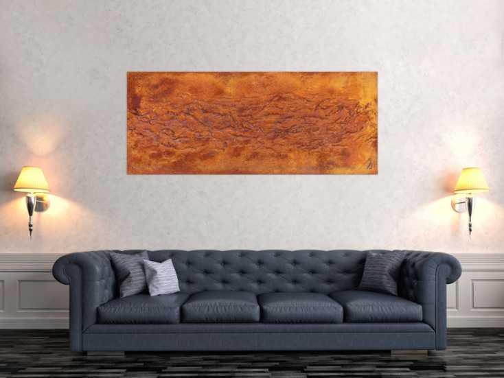 #730 Abstraktes Gemälde aus echtem Rost und starker Struktur sehr modern 60x150cm von Alex Zerr