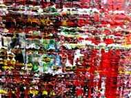 Detailaufnahme Modernes abstraktes Acrylbild sehr bunt mit Spachteltechnik