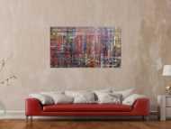 Modernes abstraktes Acrylbild sehr bunt mit Spachteltechnik