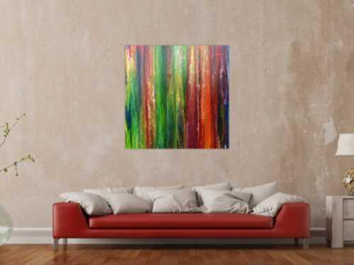 Modernes Acrylbild sehr abstrakt und bunt viele Farben