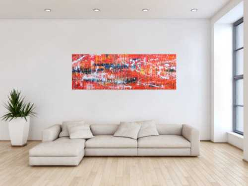 Modernes Acrylgemälde Spashstyle Acrtionpaiting in orange