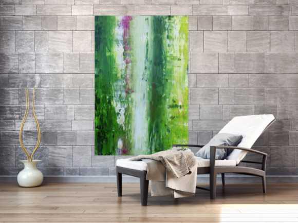 Abstraktes Acrylgemälde Spachteltechnik modern in grün weiß
