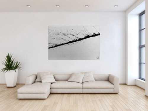 Minimalitstisches Gemälde aus Acryl abstrakt modern in schwarz weiß