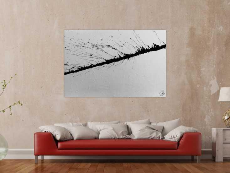 aus acryl abstrakt modern in schwarz wei auf leinwand 100x150cm. Black Bedroom Furniture Sets. Home Design Ideas