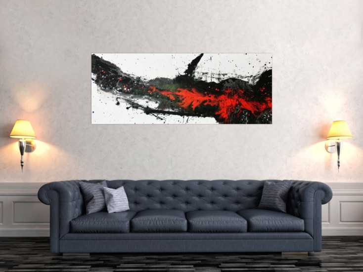 modernes acrylbild in schwarz wei rot auf leinwand 60x150cm. Black Bedroom Furniture Sets. Home Design Ideas