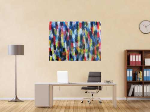 Buntes Acrylbild modern abstrakt viele Farben rot blau gelb