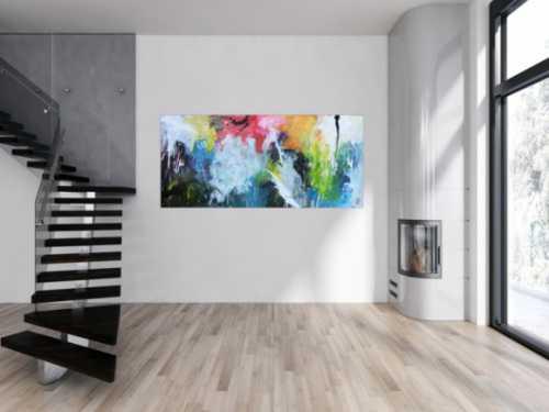 Sehr abstraktes modernes Acrylgemälde mit vielen bunten Farben