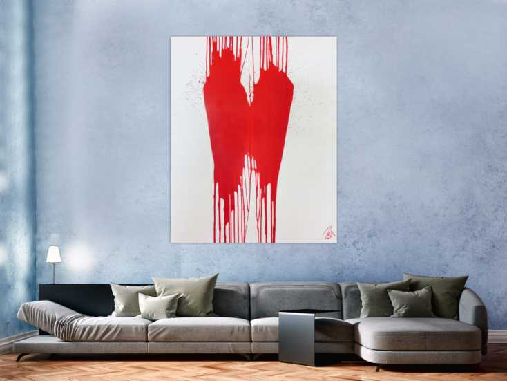 minimalistisches acrylbild gem lde modern abstrakt rot. Black Bedroom Furniture Sets. Home Design Ideas