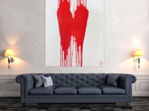 Minimalistisches Acrylbild Gemälde modern abstrakt rot weiß