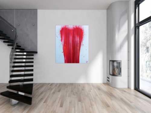 Modernes Acrylgemälde minimalistisch in rot weiß zeitgenössisch