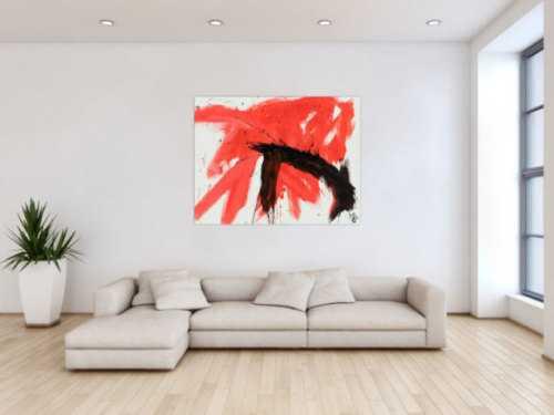 Minimalistisches Gemälde abstrakt modern zeitgenössisch in rot weiß