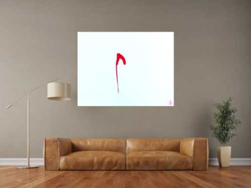 Sehr minimalistisches abstraktes Gemälde Acrylbild modern zeitgenössisch rot weiß