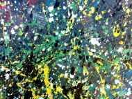 Detailaufnahme Buntes Acrylbild modern abstraktes Gemälde mit vielen Farben