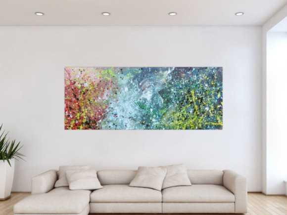 Buntes Acrylbild modern abstraktes Gemälde mit vielen Farben 80x200cm