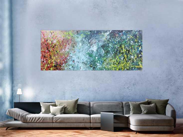 #747 Buntes Acrylbild modern abstraktes Gemälde mit vielen Farben 80x200cm von Alex Zerr