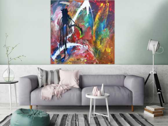 Modernes Acrylbild abstraktes Gemälde bunt zeitgenössisch bunt mit schwarz und weiß
