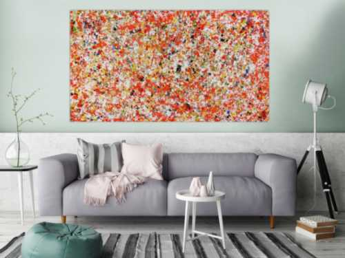 Abstraktes Acrylgemälde modern bunt in orange und weiß zeitgenössisch