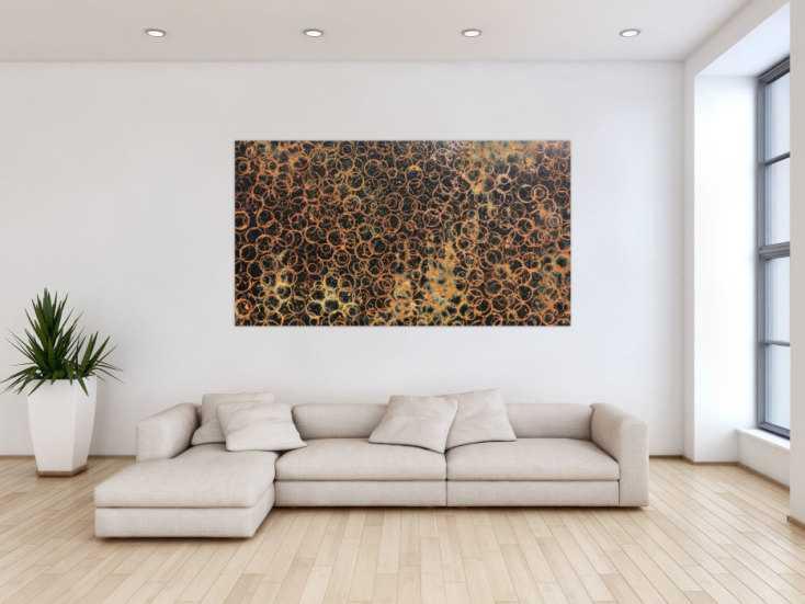 #751 Abstraktes Gemälde aus echtem Rost und schwarzem Hintergrund sehr ... 100x180cm von Alex Zerr