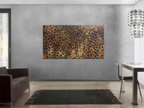 Abstraktes Gemälde aus echtem Rost und schwarzem Hintergrund sehr modern und schlicht