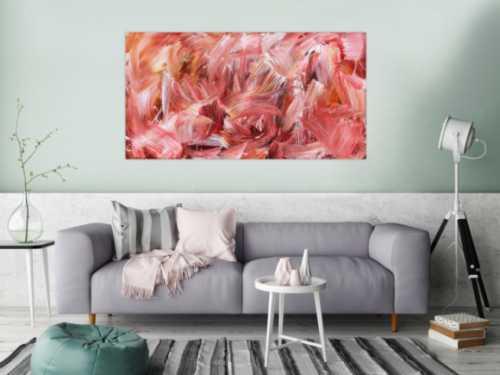 Abstraktes Acrylbild in hellen rot und rosa Farben modern schlicht