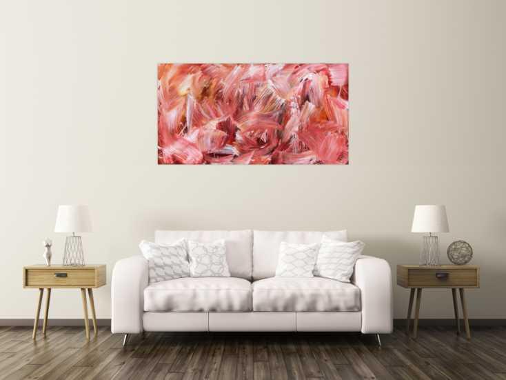 #752 Abstraktes Acrylbild in hellen rot und rosa Farben modern schlicht 80x150cm von Alex Zerr